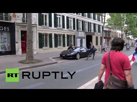 France: Ferrari smashed up by labour law protesters in Paris