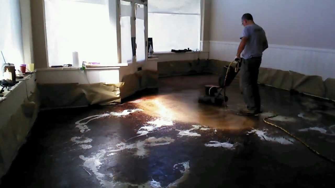 Renovate concrete floor remove old material and polish for How to clean polished floors