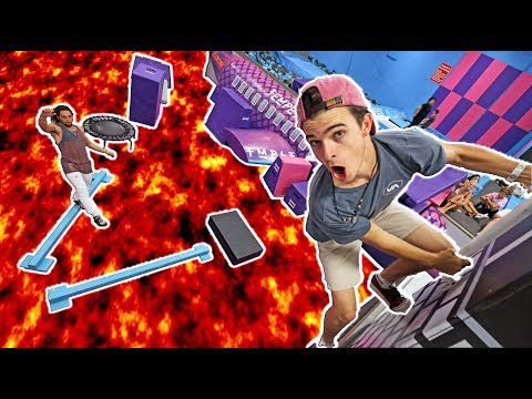 FLOOR IS LAVA OBSTACLE COURSE! (Trampoline park)