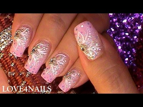 How to Pink Princess Party Nail Art Design Tutorial - YouTube