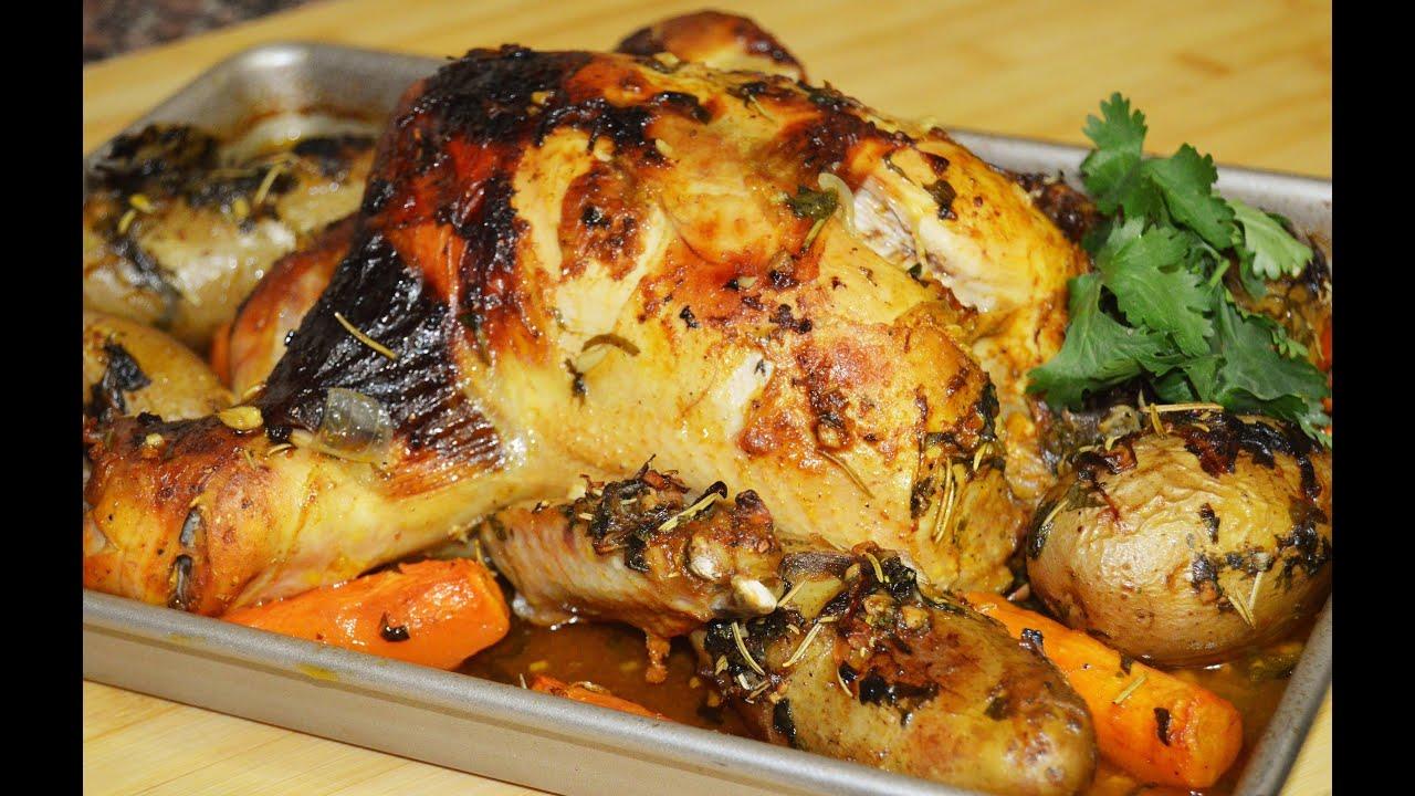 دجاج مشوي بالفرن مع الخضار Chef Ahmad Allcooking Roasted Chicken Youtube