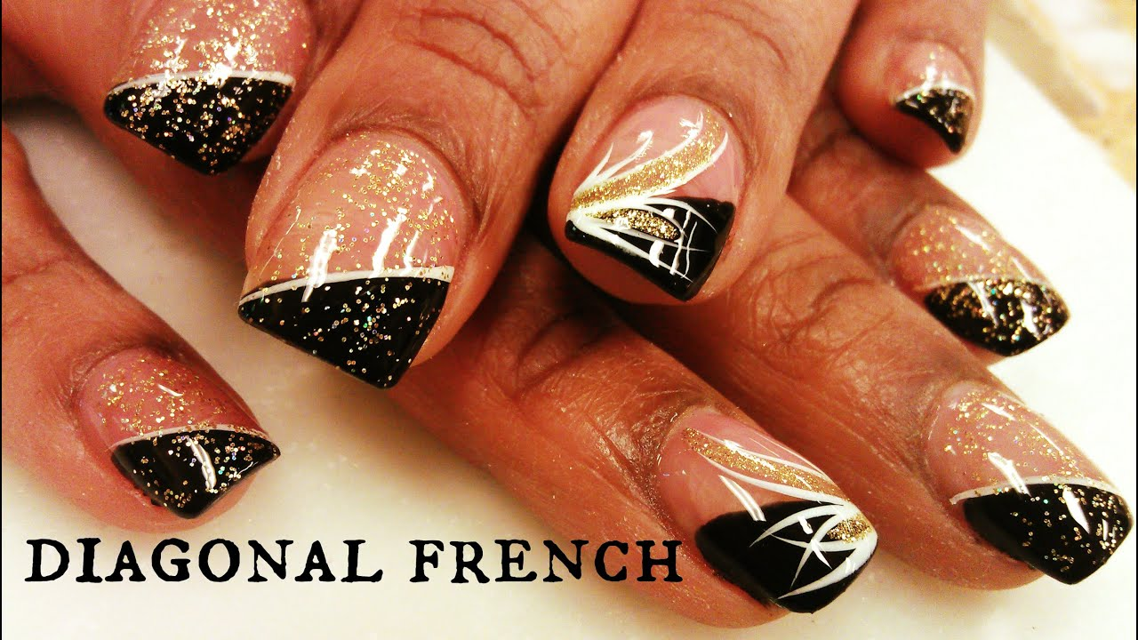 HOW TO DIAGONAL FRENCH MANICURE NAILS - YouTube