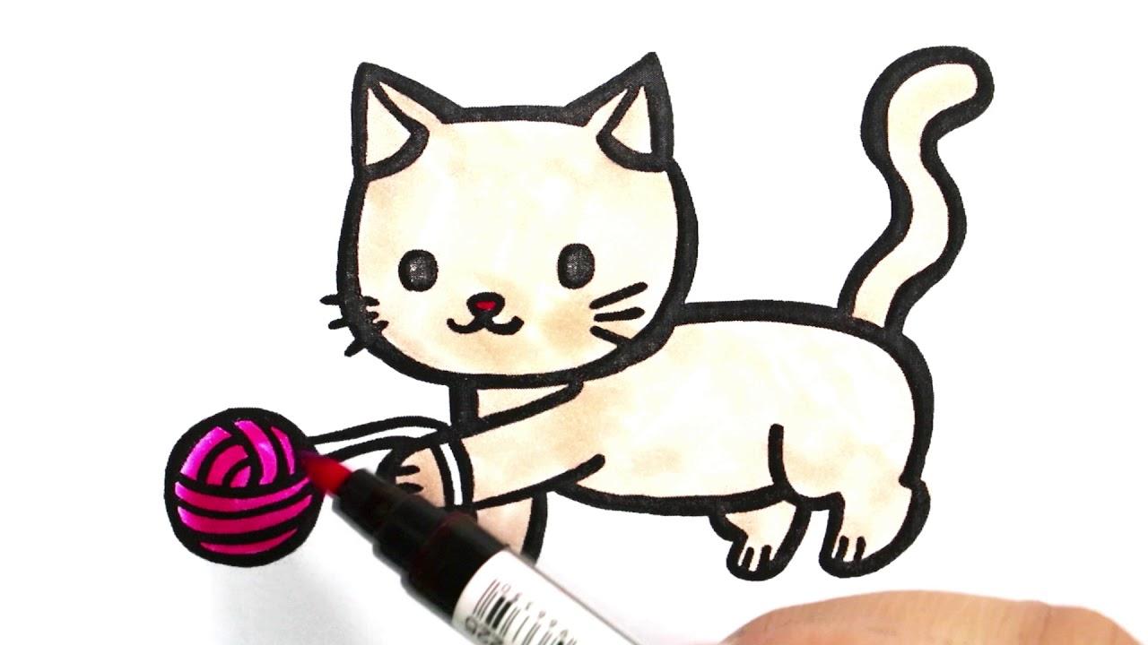 Sevimli Kedi Boyama Renkleri öğreniyorum Boyama Sayfaları Sihirli