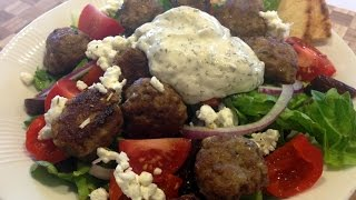 Zesty Greek Salad With Lamb Meatballs