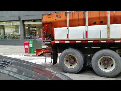 DSNY Conducting Snow Removal Operations Along Broadway In Manhattan, New York