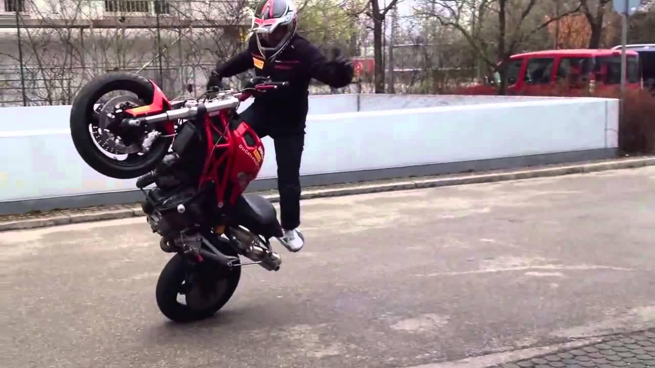 ducati monster stunt failure - youtube