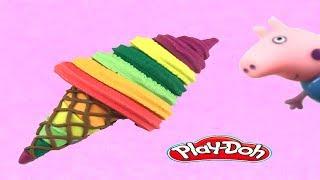 Peppa PIG watch make icecream playdoh rainbow toys ไอศครีมแป้งโดว์และตัวเลข |ของเล่นเด็ก