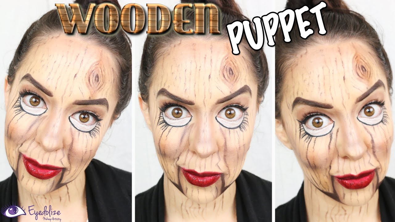 Wooden Puppet Halloween Makeup Tutorial by EyedolizeMakeup
