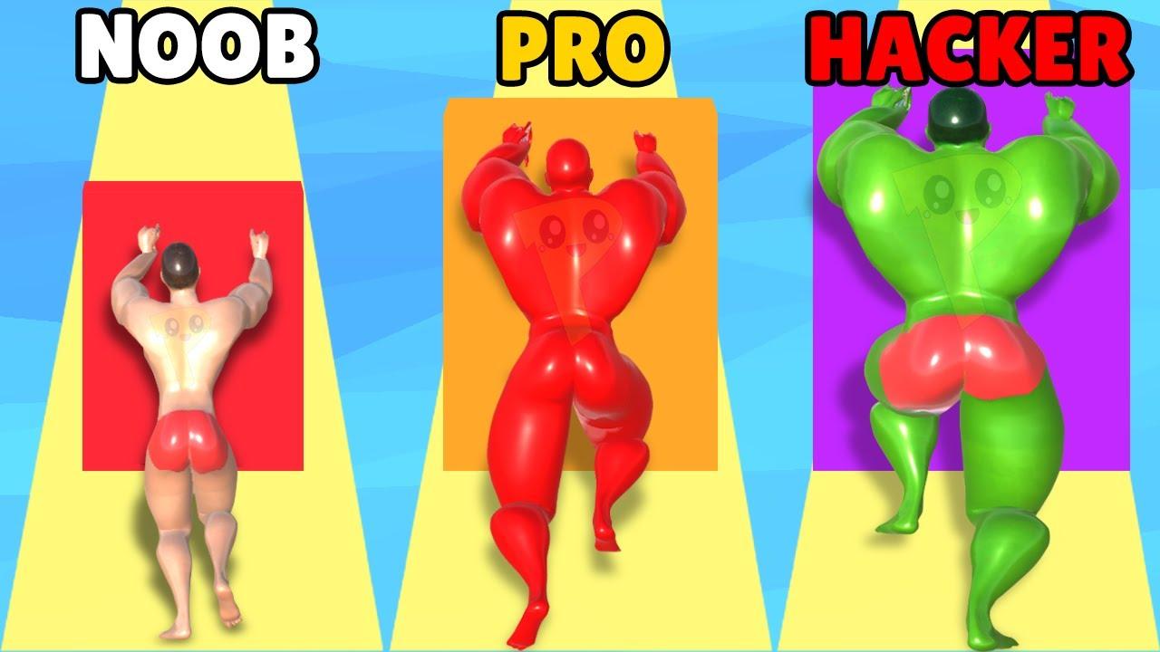 NOOB vs PRO vs HACKER in Muscle Race 3D