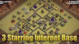 TH9 War Attack | 3 Starring Internet Base | Clash Of Clans