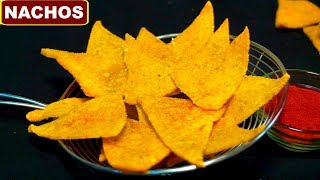 Homemade Crispy Nachos Recipe in Hindi (नच चपस)  Corn Tortilla Chips  CookWithNisha