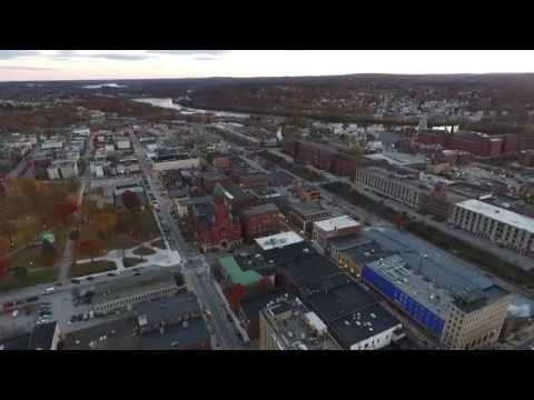 Downtown Lewiston And Auburn, Maine At Sunset
