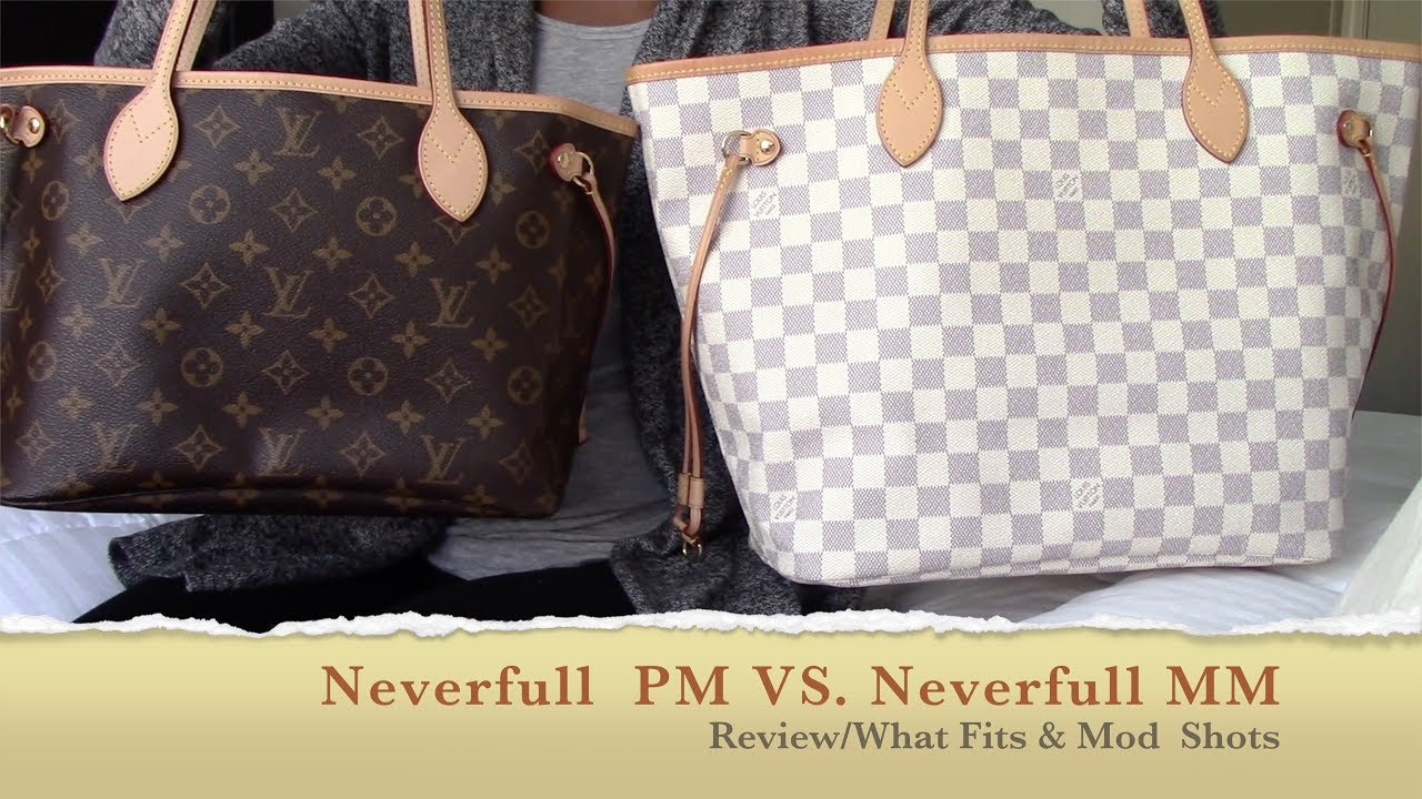 8f87fcf773984 Louis Vuitton Neverfull PM VS MM Review what fits Mod Shots - YouTube