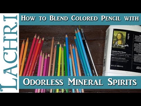 How to use Odorless Mineral Spirits to blend Colored Pencil - tips and techniques w/ Lachri