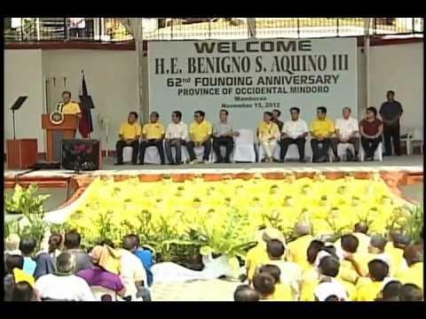 62nd Founding Anniversary of Occidental Mindoro (Speech) 11/15/2012