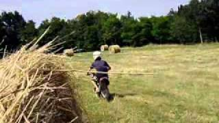 dirt bike 50cc dans un champ