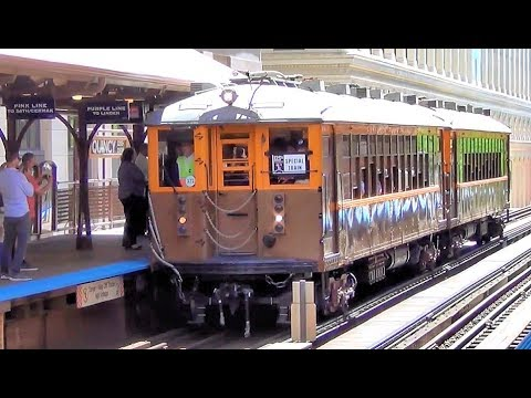 CTA 4000 'L' Train Cars (1923) and 2400 Cars (1976) at Historic Quincy Station 125th BDay of 'L'