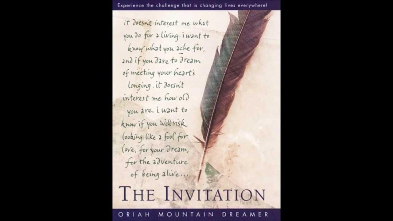 The Invitation Oriah Mountain Dreamer YouTube