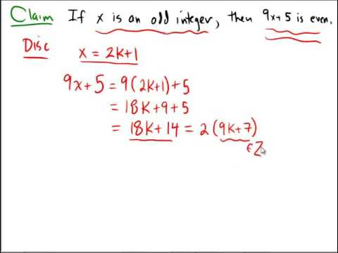 A direct proof about even and odd integers - YouTube