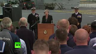 May talks history on deck of HMS Queen Elizabeth