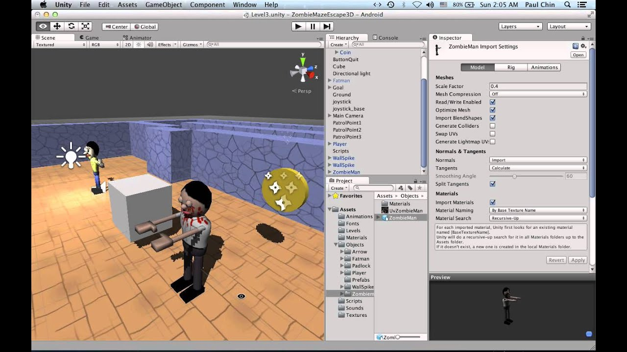 Make a Zombie in Blender for Unity games : Part 5 (Unity test)