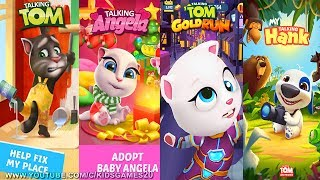 My Talking Hank vs My Talking Tom vs My Talking Angela vs Talking Tom Gold Run (Gameplay)