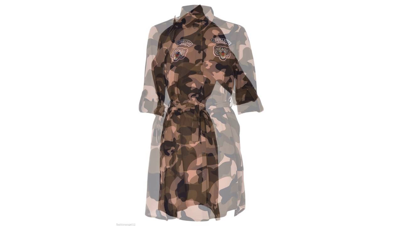494a1583587eb Womens Ladies Commando Long Sleeve Belted Army Print Shirt Dress Camouflage  8-14 by Fashions Angel
