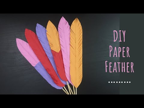 PAPER FEATHERS DIY/ Easy Paper Feathers Tutorials/ Paper Crafts For School/ Paper Feather Making
