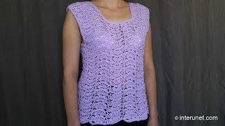 Как связать женский кружевной свитер (безрукавку, жилет) крючком - урок вязания