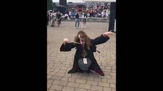 Hermione Granger cosplay voguing dancing to Mario Bros theme remix