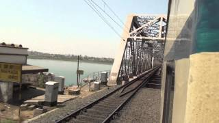 INTERCITY-EXPRESS TRAIN LEAVING BHARUCH, PASSING NARMADA RIVER BRIDGE & BRILLIANTLY ACCELERATING TOO