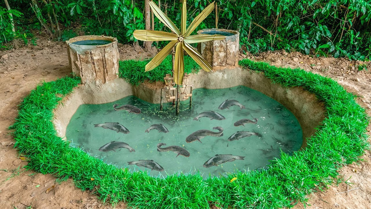 Build The Most Amazing Aquarium Fish Pond and Ancient Water Wheel Oxygen for Catfish