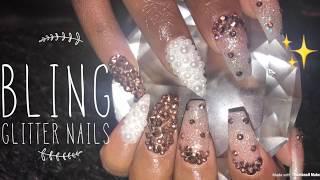 Acrylic Nails Fill | Bling Glitter Nails