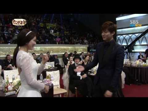 Park Shin Hye & Lee Min Ho at SBS AWARD 2013 , Moments  / 720pHD