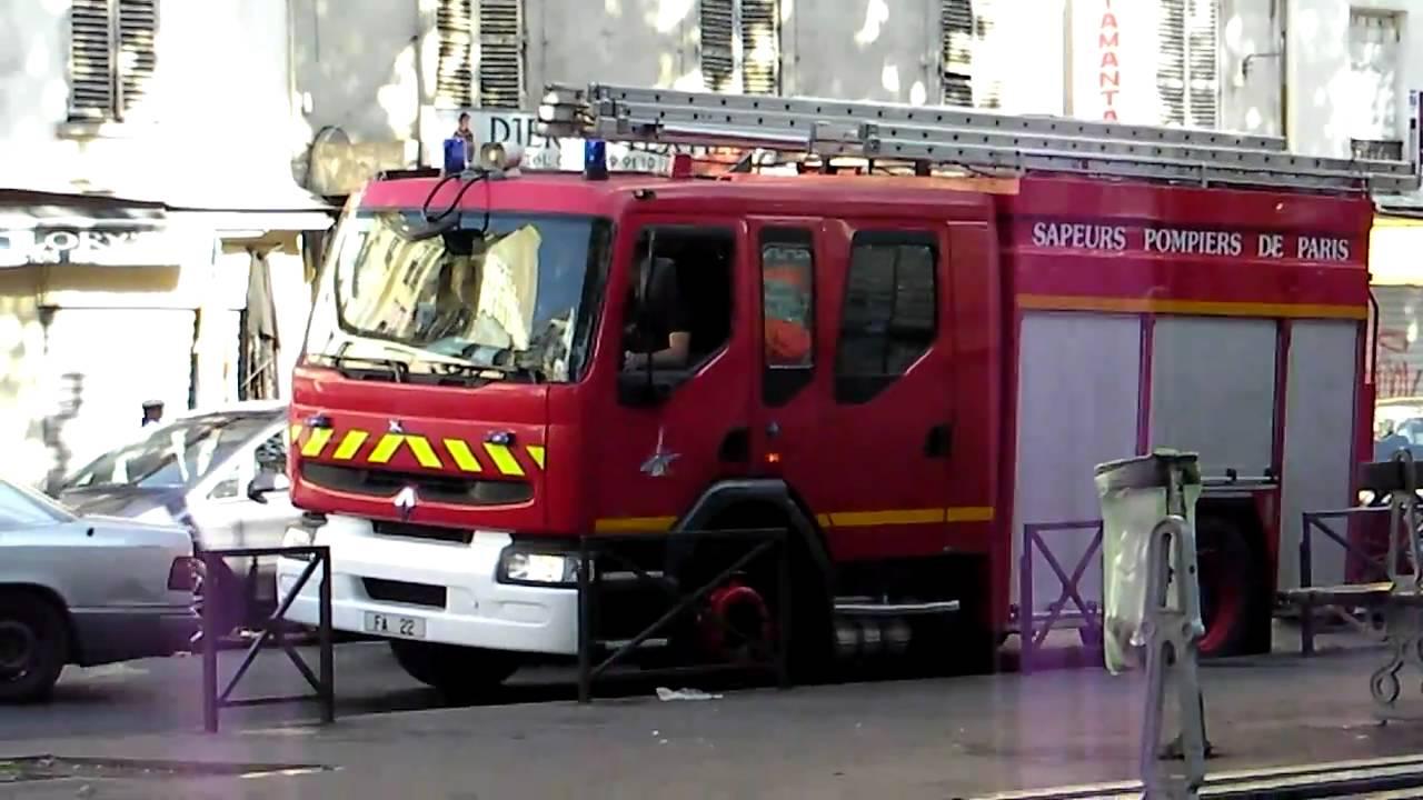 Paris Fire Truck Responding French Siren And Loud Horn