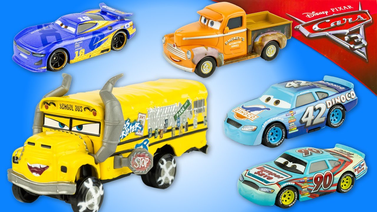 stream disney cars 3 miss fritter dinoco 5 voitures miniature jouet toy review mattel 2984 on. Black Bedroom Furniture Sets. Home Design Ideas