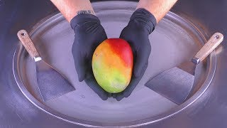 ASMR - colorful Mango Ice Cream Rolls  oddly satisfying fried Ice Cream - tapping scratching eating