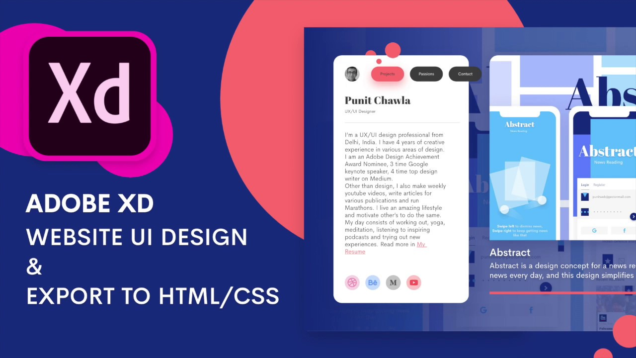 Website Ui Design In Adobe Xd Exporting As Html Css Design Weekly Youtube