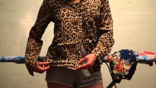Hot Womens Long Sleeve Shirt Leopard Lapel Print Chiffon Blouse Thumbnail
