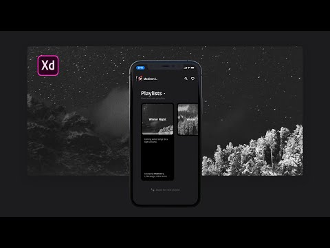 Adobe XD Dark Theme Playlist App Design Tutorial thumbnail