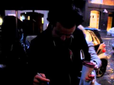 Daniel Mays signs at the Donmar theatre