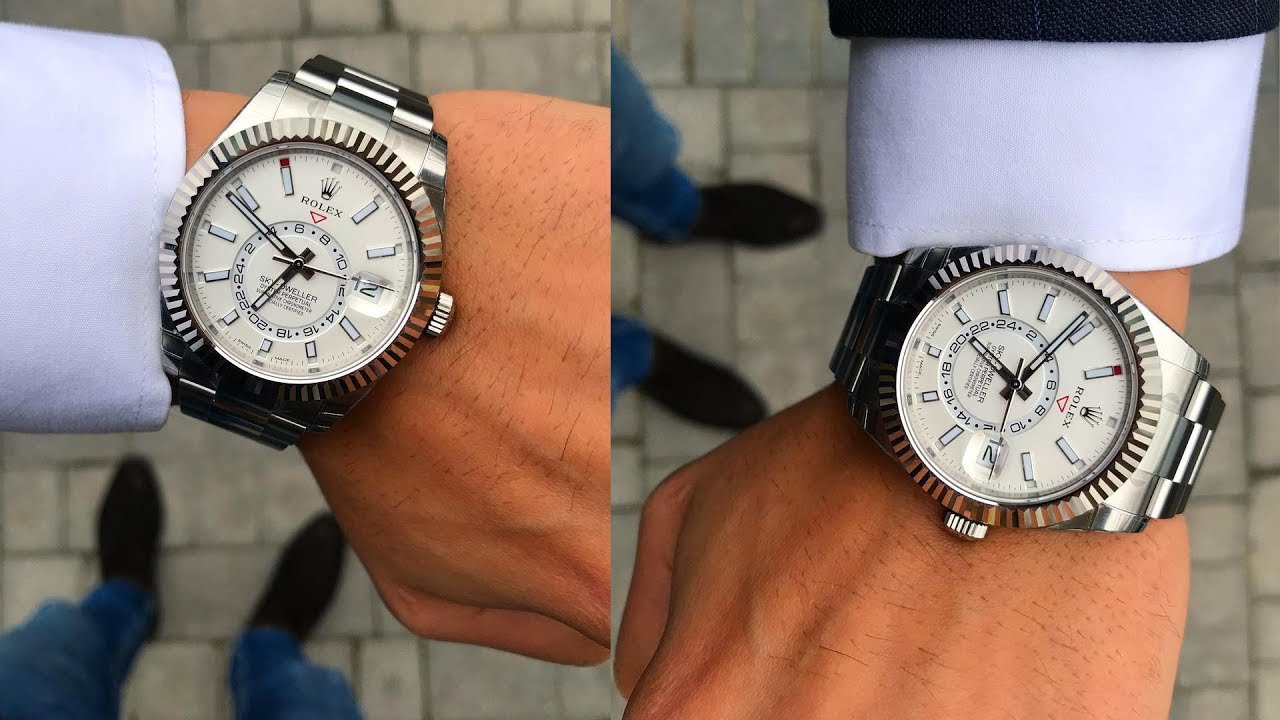 A brand new Rolex Sky,Dweller 326934 White dial 42 mm steel and white gold  luxury watch on wrist
