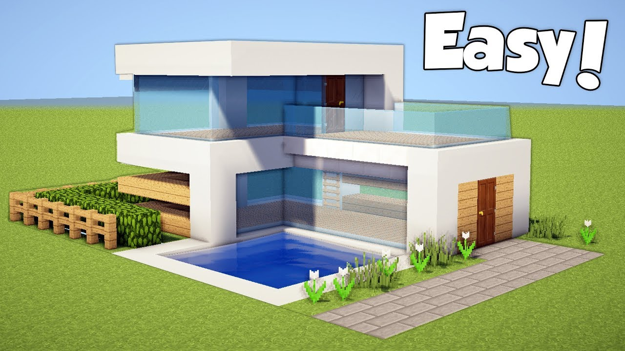 minecraft how to build a small easy modern house tutorial 20