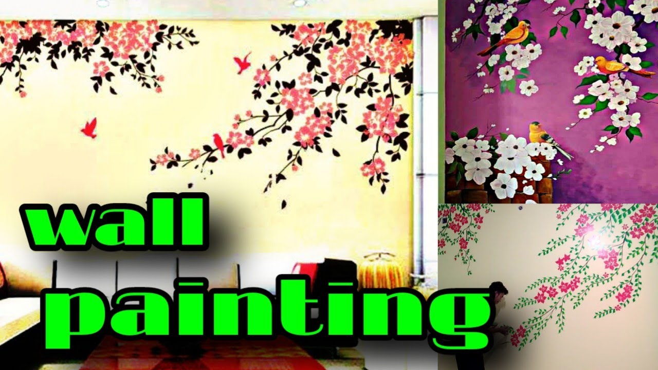 Simple Wall Painting Ideas Wall Painting Ideas Wall Painting Flowers Design Freestyle Artist Sourav Youtube