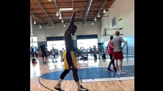 Lance Stephenson, wearing Lakers shorts, works hard on his 3 point shooting