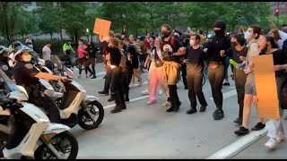 Police and protestors face-off at NYC's Justice for George Floyd demonstration