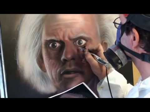 Back to the Future Christopher Lloyd airbrush painting no Photoshop