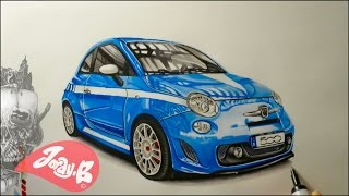 Drawing of a Fiat 500 Sport with Promarkers
