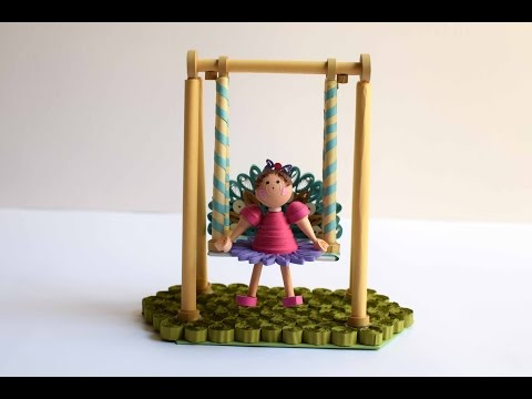 Paper Swing with Quilling Doll/ Quilling Show Piece/3D Quilling Girl/Quilled Swing