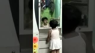 Acting of cute little  girl